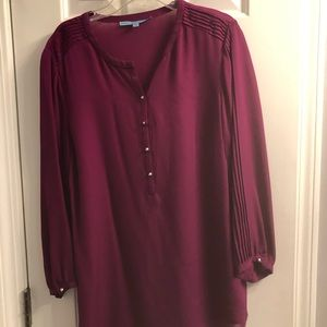 Wine colored blouse with silver buttons